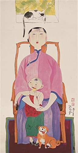 Oil Painting 'Hu Yongkai,Painting Of A Mother And Her Child,21th Century' Printing On Perfect Effect Canvas , 24x47 Inch / 61x119 Cm ,the Best Gift For Bf And Gf And (Yongkai Asian Print)