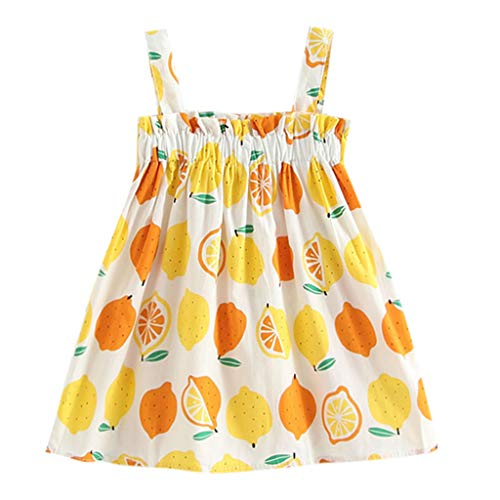 KLFGJ Infant Baby Girls Dress, Summer Clothes Strap Lemon Print Princess Dresses Outfits for Kids who 12M-5Yrs(White,3T)]()