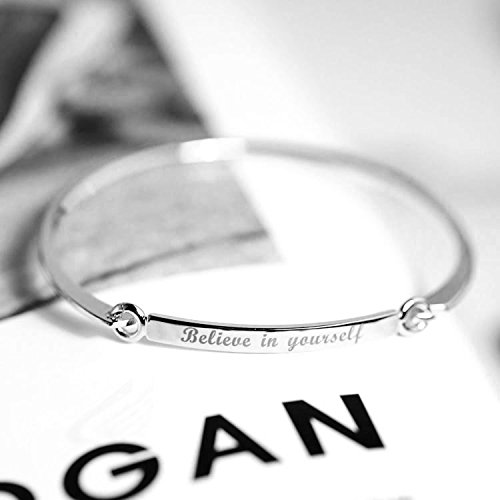 Zuo Bao Believe in Yourself Skinny Hand Stamped Message Cuff Bracelet Bangle Inspirational Gift
