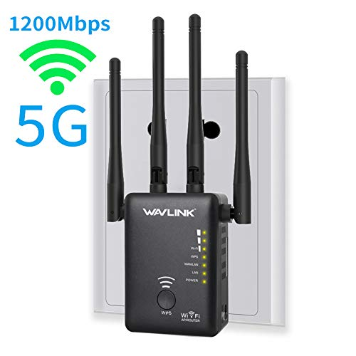 5G WiFi Booster, WAVLINK AC1200 WiFi Long Range Extender,1200Mbps Dual Band, 5K Signla Amplifier Repeater/Access Point/Router with 4 Band Antennas for Office,Home,Outdoor