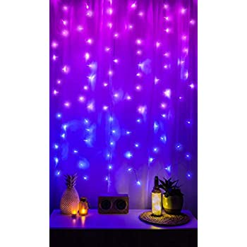 Merkury Innovations LED Window Curtain String Lights Wedding Party Home Garden Bedroom Outdoor Indoor Wall Decorations, Ombre Lights