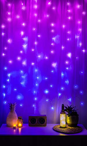 Merkury Innovations LED Window Curtain String Lights Wedding Party Home Garden Bedroom Outdoor Indoor Wall Decorations, Ombre Lights