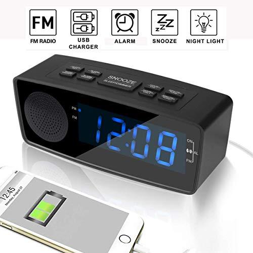 Clock Radios, Digital FM Alarm Radio Clock USB Charging Port,LED Display, Dimmer, Sleep Timer, Snooze Battery Backup Bedrooms,Tables