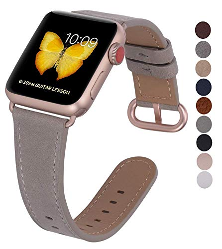 Compatible iWatch Band 38mm 40mm - JFdragon Women Etoupe Crazy Horse Leather Replacement Wrist Strap Compatible iWatch Series 4 Gold Aluminum(40mm) and Series 3 Gold Aluminum(38mm)
