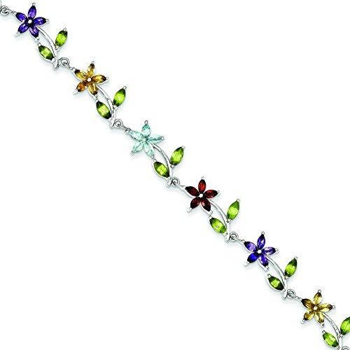 (Sterling Silver 7.75inch Multi-Color Semi-Precious Floral Bracelet)