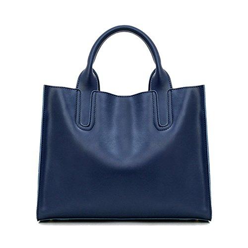 sakutane femmes sac à main grand sac en cuir de sac à main vintage fait main pour le travail Bleu foncé