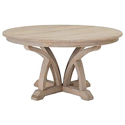 MAKLAINE 60u0026quot; Round Dining Table In Smoke Gray Solid Reclaimed Elm