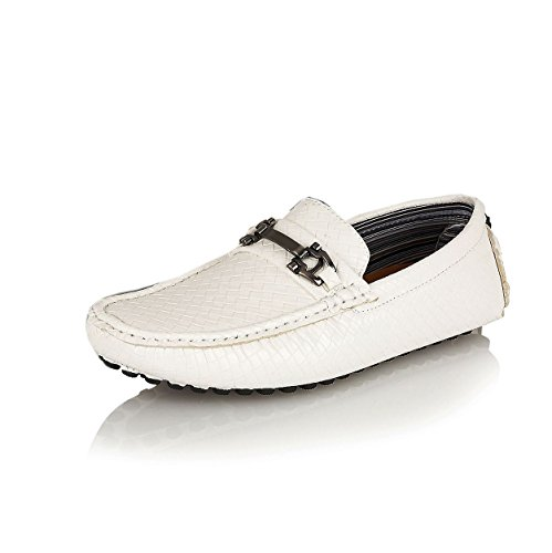Designer Inspired Men's Casual Slip-On Moccasins Loafers Shoes White ypAJC