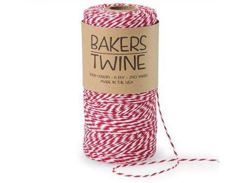 Yds Stripe Fabric (Cherry Red & White Twine 240 yds 4-ply 100% Cotton Baker's Twine (3 rolls) - WRAPS-ABTCR)