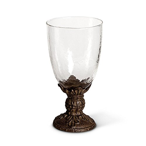 Set of 4 Rustic Brown Traditional Style Embossed Designed Glass Water Goblet 7.75