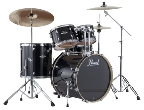 (Pearl EXX725S/C 5-Piece Export New Fusion Drum Set with Hardware - Jet Black)