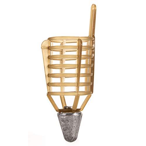 CapsA Fishing Bait Trap Cage Feeder Basket Holder Coarse Lure Feeder Carp Fishing Accessories Tackle Kit-Carp Fishing Feeder Bait Cage Carp Case Fishing Inline Method Bait Feeder (Yellow, 50g)