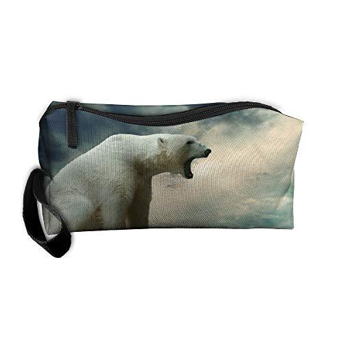 Cosmetic Bags With Zipper Makeup Bag Roaring Polar Bear Middle Wallet Hangbag Wristlet Holder -