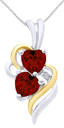 (AFFY Simulated Garnet & White Cubic Zirconia Double Swirl Heart Two Tone Pendant Necklace in 14k White Gold Over Sterling Silver)