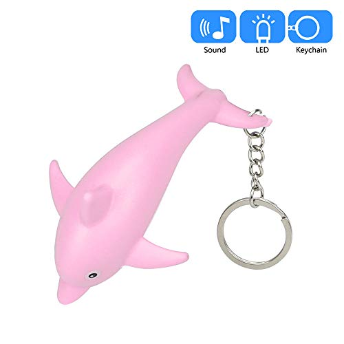 Gbell Girls Dolphin Flashlight Keychain Toys with LED Light and Sound Keyfob,Kids Cute Dolphin Key Chain for Boys Girls Toddler School Bag,Battery Included,1 Pcs