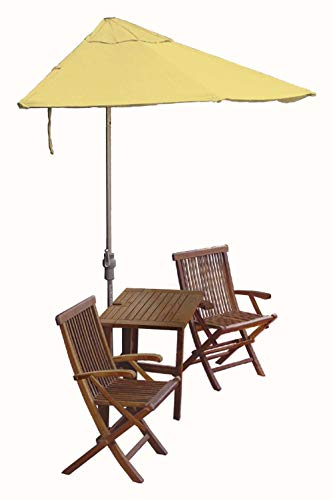 (Blue Star Group Terrace Mates Villa Deluxe Table Set w/ 7.5'-Wide OFF-THE-WALL BRELLA - Yellow Olefin Canopy)