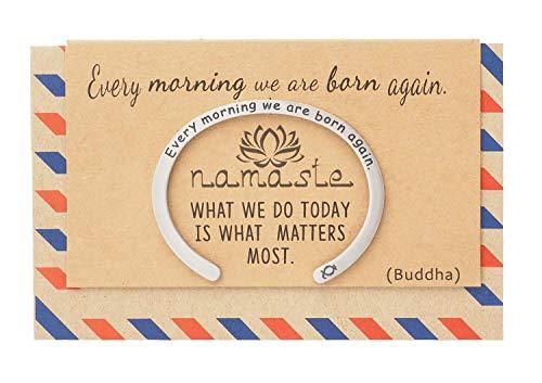 - Quan Jewelry Namaste Yoga Cuff Bracelet, Buddha Mantra Charm,New Beginnings Bangle, Lotus Flower Inspirational Engraved Quote on Greeting Card