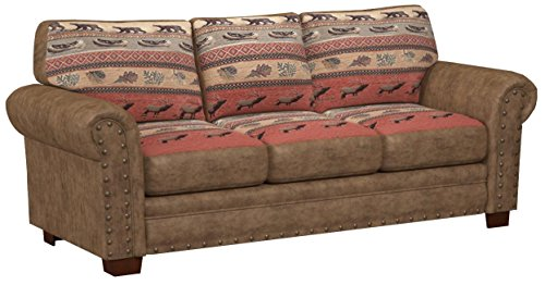 American Furniture Classics Model Sofas, Sierra Lodge Tapestry - Leather look solid color microfiber with lodge look cotton tapestry fabric Solid wood frame will last for years Comfortable foam seat and back cushions are wrapped with fiber for a comfortable seat - sofas-couches, living-room-furniture, living-room - 41 rJ2BKhYL -