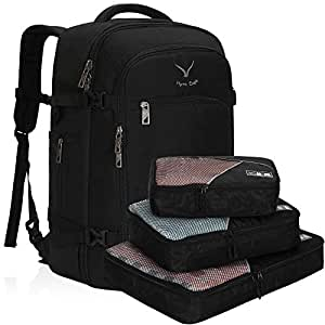 Hynes Eagle Travel Backpack 40L Flight Approved Carry on Backpack, Black with 3PCS Packing Cubes-2018