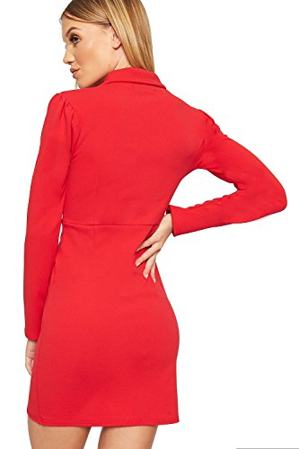 Wearall Womens Accent Bouton D'or À Manches Longues Mini Robe Blazer Rouge Moulante Extensible