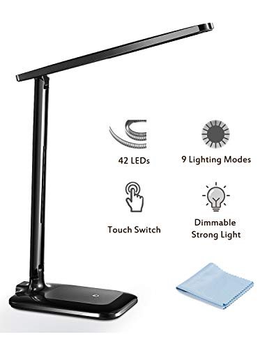 LED Desk Lamp, TopElek Eye-caring Folding Desk Light, Dimmable Office Lamp with 9 Brightness, Touch Control, Warm/Cool White for Reading, Studying, Working, Perfect for Kids and Adults