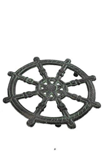 Antiqued-Bronze Cast Iron Nautical Marine Boat Ship Helm Wheel Trivet Hot Plate
