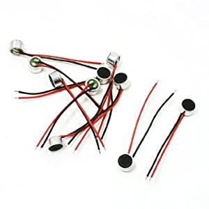 uxcell 10 Pcs 6mm x 3.5mm 2 Wire Cable MIC Capsule Electret Condenser Microphone
