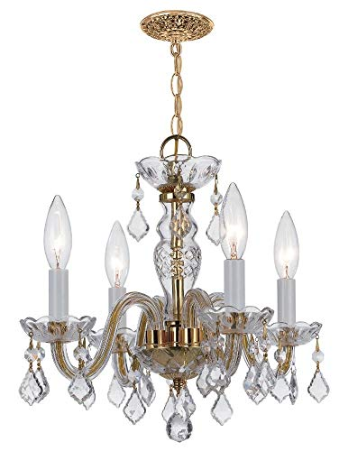 Crystorama 1064-PB-CL-S Crystal Four Light Mini Chandeliers from Traditional Crystal collection in Brass-Polished/Castfinish,