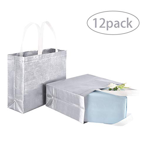 12 Pack Stylish Reusable Shopping Bag Glossy Glitter Reusable Grocery Bag with Handle Silver Fashionable Tote Bag…
