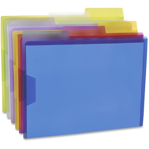 "Pendaflex Poly View Folders - Letter - 8.50"" Width x 11"" Length Sheet Size - 1/3 Tab Cut - Poly - Blue, Magenta, Yellow, Purple, Lime, Ice - 6 / Pack"