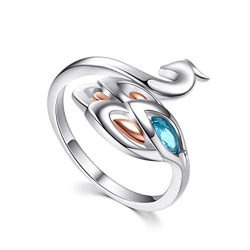 - YFN Peacock Ring S925 Sterling Silver Ring for Women Girls Sister Friend, Adjustable Animal Open Rings Colorful Ring