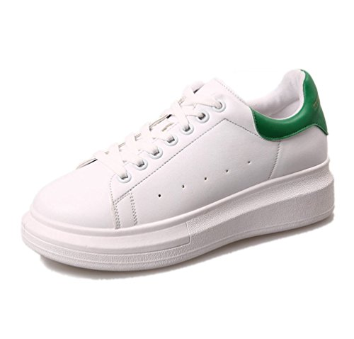 VECJUNIA Ladies Breathable Casual Lace-Up Trainers Sneakers Shoes White1 EhpbKhQ