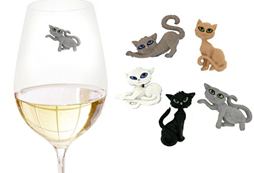 Sneaky Cats Wine Charms Set of 5