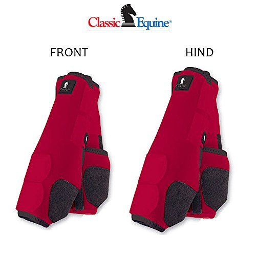 L- 4 PACK RED CLASSIC EQUINE LEGACY SYSTEM HORSE FRONT REAR HIND SPORT BOOT by Classic Equine