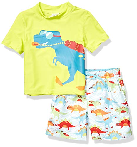 KIKO & MAX Toddler Boys' Swimsuit Set with Short Sleeve Rashguard Swim Shirt, Dinosaur Lifeguard Green, 3T (Boy Swimsuit Toddler)