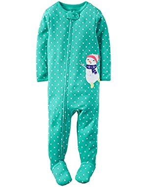 Carters 1-Pc Snug Fit Ctn PJs Snowman, Turquoise with Wht Polka Dts - 24 Mo