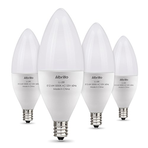 Albrillo E12 Bulb Candelabra LED Bulbs, 60 Watt Equivalent, Daylight White 5000K LED Chandelier Bulbs, Candelabra Base, Non-Dimmable LED Lamp, 4 Pack]()