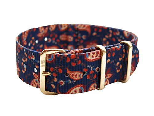 HNS 20mm Double Graphic Printed Vintage Paisley Nylon Watch Strap Rose Gold Buckle NT149