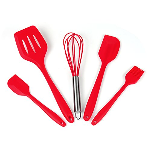 iLOME Silicone Spatula Utensil Set Heat-Resistant Non-Stick Cooking Baking Utensils with Hygienic Solid Coating Spatula Set 5 Pieces(Red)