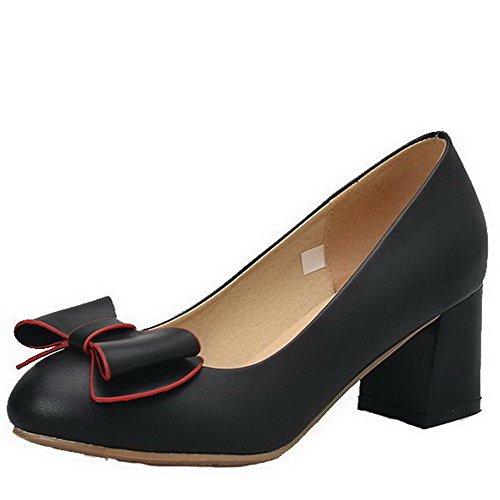 Damen Mittler Absatz Rein Weiches Material Rund Zehe Pumps Schuhe, Weinrot, 34 AllhqFashion