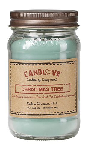 CANDLOVE Christmas Tree Scented 16oz Mason Jar Candle 100% Soy Made in The USA