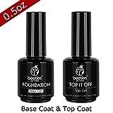 #3: Beetles No Wipe Top Coat and Base Coat Set - Shine Finish and Long Lasting, Soak Off UV LED Gel, 15ml Each Bottle