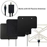 HDTV Antenna Amplified Channel Booster - Vichannel RF98 (2017 Upgraded) TV Antenna Signal Booster High Gain Low Noise Inline Amplifier Kit for VHF UHF Reception 25dB with Adapter