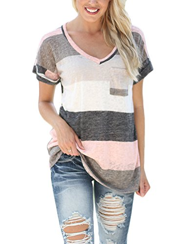 [SmallDragon Women's V-neck Summer Casual Short Sleeve Top Tee Blouse T-shirt (XX-Large, Pink)] (Pink Stripe Shirt)