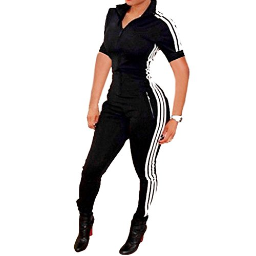 Bodycon4U Women Lycra Spandex Zentai Long Sleeve Unitard Bodysuit Jumpsuit (XL, Shortsleeve-Black)