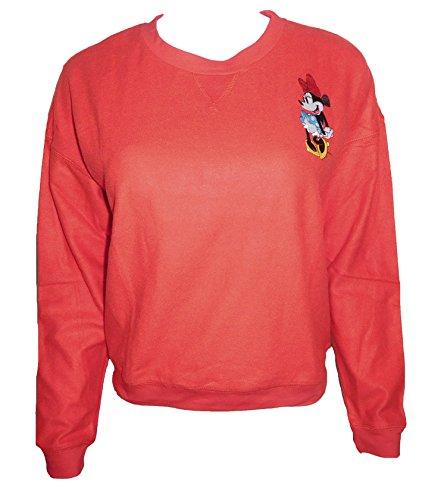 Disney Old School Minnie Mouse Crewneck Juniors Sweatshirt (Womens Minnie Mouse Jumper)