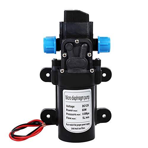 Water Pump, Aramox DC 12V High Pressure Water Pump Self Priming Sprayer Pump 5 L/Min 116 PSI Fresh Water Pressure Diaphragm Pump with Hose Clamps Pump for RV Camper Marine Boat ()