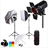 GOWE Professional Photography Photo Studio Speedlite Lighting Lamp Kit Set with 300W Studio Flash Strobe Light Stand Softbox