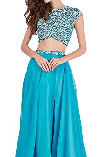 sunvary una línea dos piezas beadings Capilla tren Evening Prom Party vestidos Azul