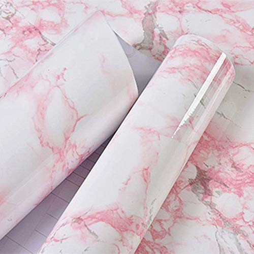 (Moyishi Red Granite Look Marble Gloss Film Vinyl Self Adhesive Counter Top Peel and Stick Wall Decal 24''x79'')